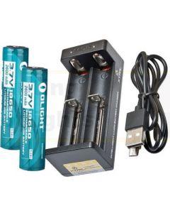 Powa Beam Dual Lithium 18650 Battery & Charger Kit